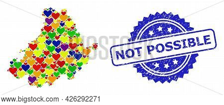 Blue Rosette Grunge Seal Imprint With Not Possible Phrase. Vector Mosaic Lgbt Map Of Avila Province