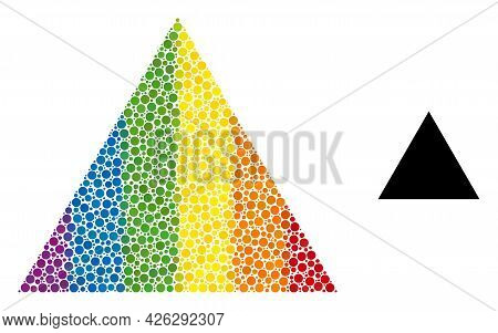Triangle Mosaic Icon Of Round Dots In Different Sizes And Spectrum Color Hues. A Dotted Lgbt-colored