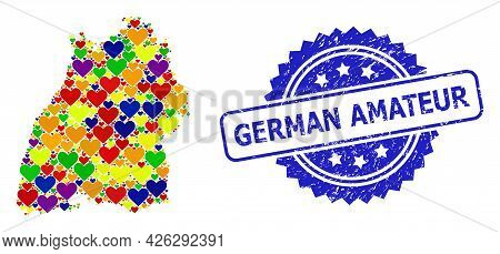 Blue Rosette Rubber Seal Imprint With German Amateur Caption. Vector Mosaic Lgbt Map Of Baden-wurtte