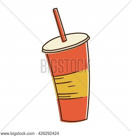 Simple Vector Isolated Illustration. Plastic Disposable Glass For Soda, Juice Or Soft Drinks With A
