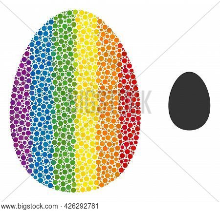 Egg Mosaic Icon Of Circle Elements In Variable Sizes And Rainbow Color Tints. A Dotted Lgbt-colored