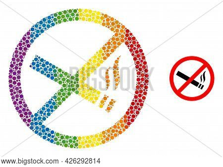 Smoking Forbidden Composition Icon Of Round Dots In Variable Sizes And Rainbow Multicolored Color Hu