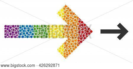 Direction Arrow Mosaic Icon Of Round Dots In Various Sizes And Spectrum Multicolored Shades. A Dotte