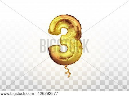Golden Number Three 3 Metallic Balloon. Party Decoration Golden Balloons. Anniversary Sign For Happy
