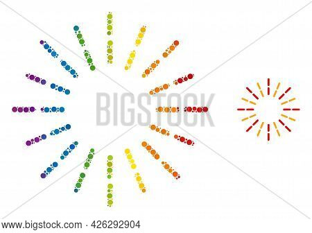 Shine Rays Collage Icon Of Spheric Dots In Various Sizes And Rainbow Colorful Color Tones. A Dotted