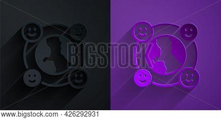 Paper Cut International Community Icon Isolated On Black On Purple Background. Worldwide Community.
