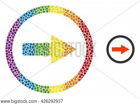 Rounded Right Arrow Collage Icon Of Round Dots In Variable Sizes And Spectrum Multicolored Shades. A