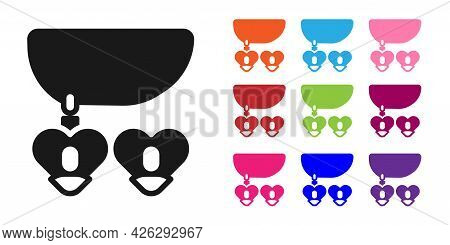 Black Necklace With Heart Shaped Pendant Icon Isolated On White Background. Jewellery Decoration. In
