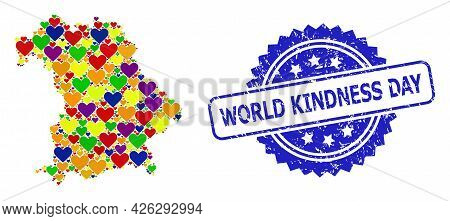Blue Rosette Rubber Seal Imprint With World Kindness Day Title. Vector Mosaic Lgbt Map Of Bavaria St