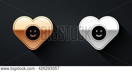 Gold And Silver Good Relationship Icon Isolated On Black Background. Romantic Relationship Or Pleasa