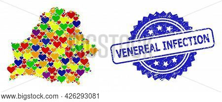 Blue Rosette Textured Watermark With Venereal Infection Phrase. Vector Mosaic Lgbt Map Of Belarus Wi