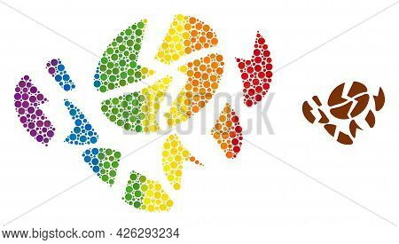 Coffee Bean Destruction Mosaic Icon Of Round Dots In Different Sizes And Spectrum Colorful Color Hue