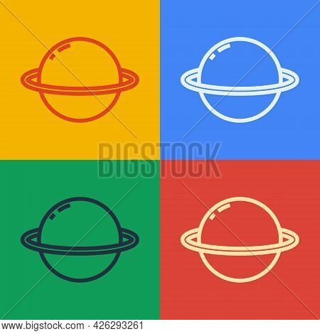 Pop Art Line Planet Saturn With Planetary Ring System Icon Isolated On Color Background. Vector