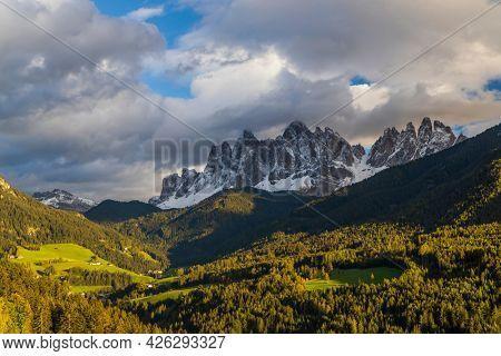 Beautiful landscape of Italian dolomites near Santa Magdalena