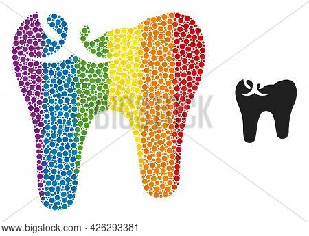 Tooth Caries Composition Icon Of Spheric Dots In Variable Sizes And Rainbow Color Tints. A Dotted Lg