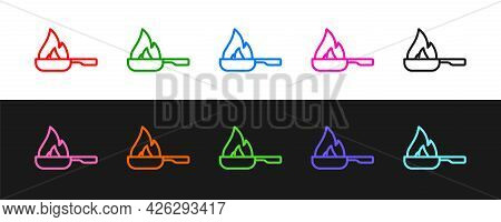 Set Line Frying Pan Icon Isolated On Black And White Background. Fry Or Roast Food Symbol. Vector