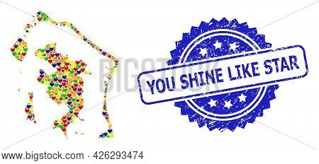 Blue Rosette Scratched Watermark With You Shine Like Star Title. Vector Mosaic Lgbt Map Of Bora-bora