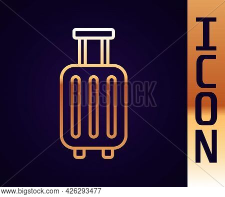 Gold Line Suitcase For Travel Icon Isolated On Black Background. Traveling Baggage Sign. Travel Lugg