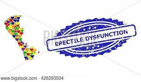 Blue Rosette Grunge Seal Stamp With Erectile Dysfunction Title. Vector Mosaic Lgbt Map Of Boracay Is