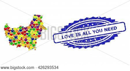 Blue Rosette Grunge Seal Stamp With Love Is All You Need Title. Vector Mosaic Lgbt Map Of Borneo Isl