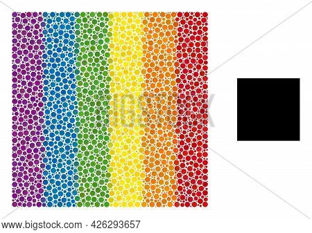 Square Mosaic Icon Of Filled Circles In Variable Sizes And Rainbow Colorful Color Tinges. A Dotted L