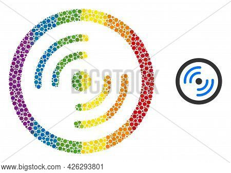 Rotor Rotation Collage Icon Of Spheric Blots In Variable Sizes And Rainbow Bright Shades. A Dotted L