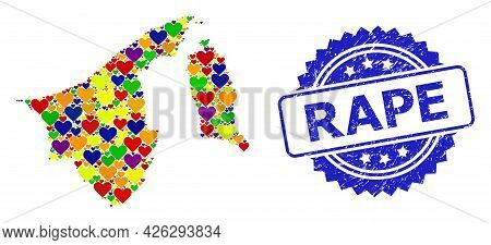 Blue Rosette Scratched Stamp With Rape Message. Vector Mosaic Lgbt Map Of Brunei From Hearts. Map Of