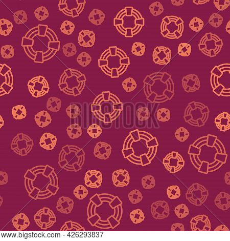 Brown Line Lifebuoy Icon Isolated Seamless Pattern On Red Background. Lifebelt Symbol. Vector