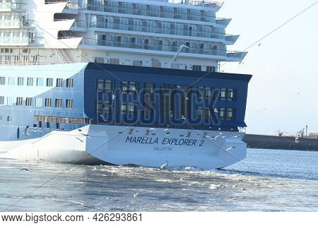 Ijmuiden, The Netherlands - July 2nd 2021: Marella Explorer 2 Leaving Ijmuiden Terminal, End Of Covi