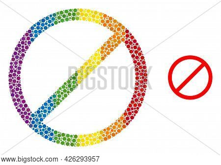 Cancel Mosaic Icon Of Filled Circles In Different Sizes And Spectrum Colored Shades. A Dotted Lgbt-c