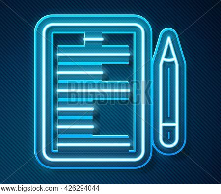 Glowing Neon Line Scenario Icon Isolated On Blue Background. Script Reading Concept For Art Project,