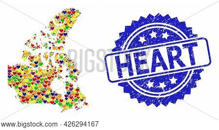 Blue Rosette Grunge Stamp With Heart Message. Vector Mosaic Lgbt Map Of Canada With Love Hearts. Map