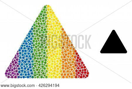 Rounded Triangle Composition Icon Of Round Dots In Different Sizes And Rainbow Bright Color Tinges.