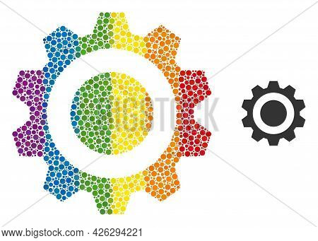 Gear Mosaic Icon Of Circle Elements In Different Sizes And Rainbow Color Tints. A Dotted Lgbt-colore