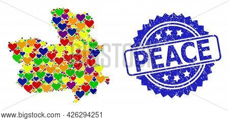 Blue Rosette Rubber Stamp With Peace Title. Vector Mosaic Lgbt Map Of Castile-la Mancha Province Wit