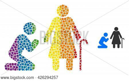 Man Pray For Grandmother Composition Icon Of Filled Circles In Variable Sizes And Rainbow Multicolor