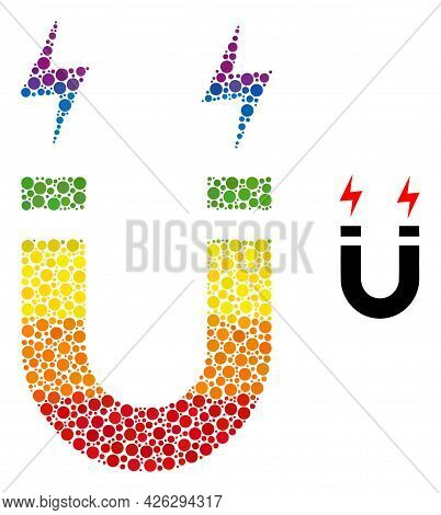 Horseshoe Magnet Composition Icon Of Filled Circles In Different Sizes And Spectrum Colored Color To
