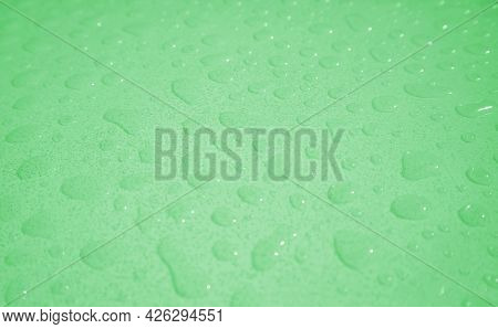 Pop Art Surreal Style Sea Foam Green Colored Water Droplets On The Tabletop After The Rain