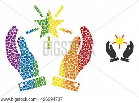 Shine Star Care Hands Collage Icon Of Filled Circles In Different Sizes And Rainbow Colored Color Ti