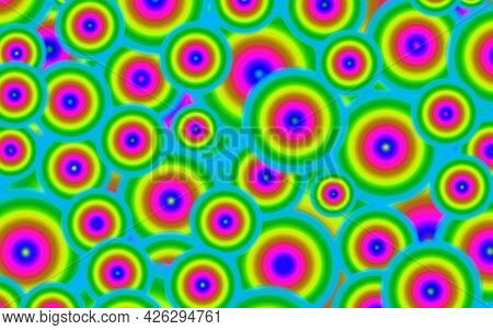 Vibrant Multi-color Of Playful Chaotic Circles Pattern For Abstract Background, Illustration