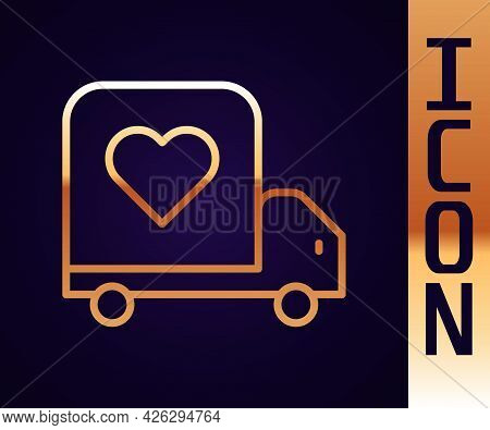 Gold Line Delivery Truck With Heart Icon Isolated On Black Background. Love Delivery Truck. Love Tru