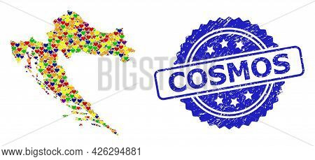 Blue Rosette Distress Seal With Cosmos Message. Vector Mosaic Lgbt Map Of Croatia With Hearts. Map O