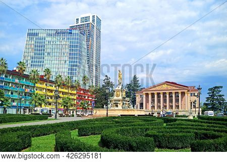 Theater Square Of Batumi City With The Neptune Fountain And Groups Of Stunning Architecture, Adjara