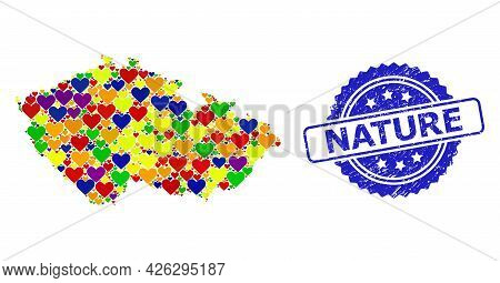 Blue Rosette Distress Seal With Nature Message. Vector Mosaic Lgbt Map Of Czech Republic With Love H