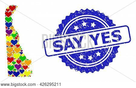 Blue Rosette Textured Seal Imprint With Say Yes Caption. Vector Mosaic Lgbt Map Of Delaware State Wi