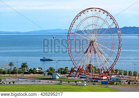 Incredible Aerial View Of The Ferris Wheel Of Batumi City On The Black Sea Coast, Adjara Region Of G
