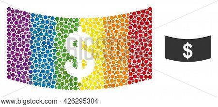 Dollar Banknote Composition Icon Of Round Items In Different Sizes And Rainbow Colored Color Tinges.