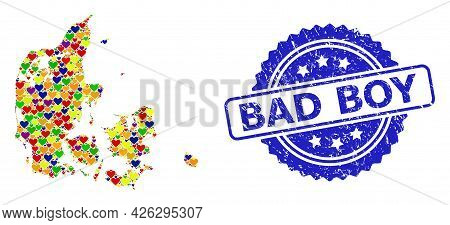 Blue Rosette Rubber Seal With Bad Boy Title. Vector Mosaic Lgbt Map Of Denmark With Lovely Hearts. M