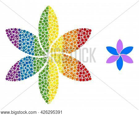 Flower Collage Icon Of Spheric Dots In Various Sizes And Spectrum Color Hues. A Dotted Lgbt-colored