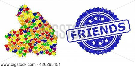 Blue Rosette Scratched Watermark With Friends Text. Vector Mosaic Lgbt Map Of Drenthe Province From